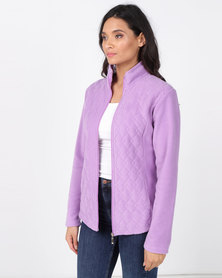 Queenspark Long Sleeve Quilted Zip Through Fleece Jacket Lilac