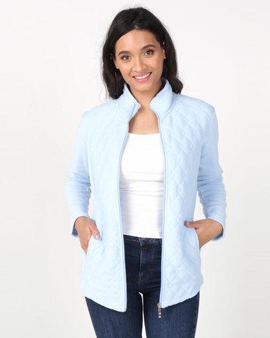 Queenspark Long Sleeve Quilted Zip Through Fleece Jacket Blue