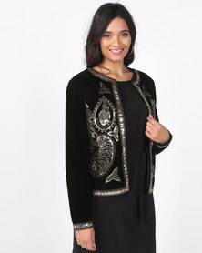 Queenspark Velvet Sequin Woven Jacket Black/Gold