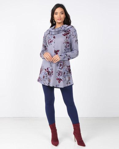 Queenspark Private Label Turtle Neck Cut & Sew Knit Top Blue