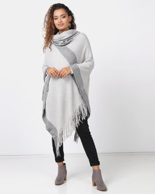 Queenspark Lurex With Cowlneck Poncho Silver