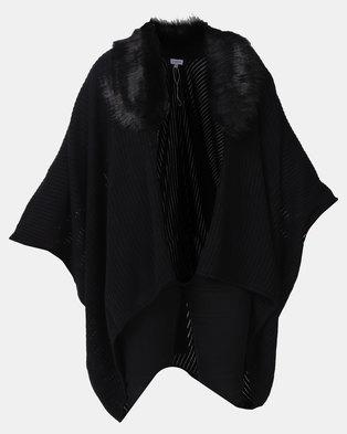 f90e247a41b6d Queenspark Faux Fur Trim Shawl Black
