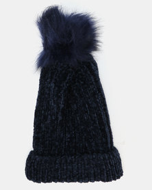Queenspark Chenille With Faux Fur Trim Hat Navy