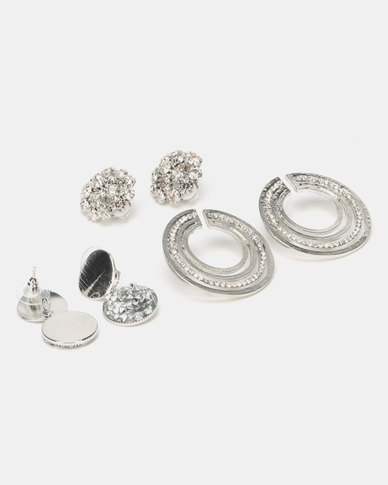 Queenspark Glitter 3 Pack Earrings Silver