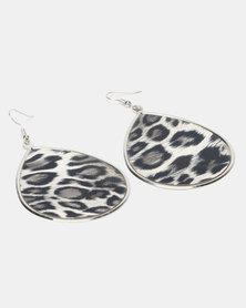Queenspark Leopard Print Statement Earring Silver