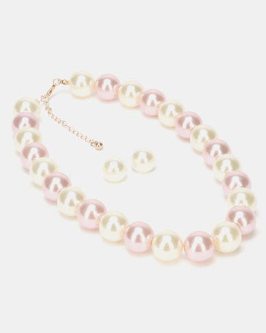 Queenspark Large Pearl Necklace and Earrings Soft Pink
