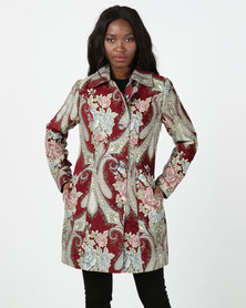 cath.nic By Queenspark Romance Damask Woven Coat Red