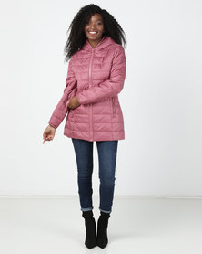 cath.nic By Queenspark Hooded Zip Puffer Jacket Pink