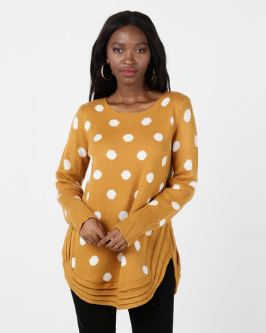 cath.nic By Queenspark Spot Design Knitwear Top Mustard