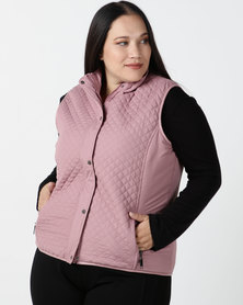 Queenspark Plus Collection Piped Puffer Gilet Woven Jacket Soft Pink