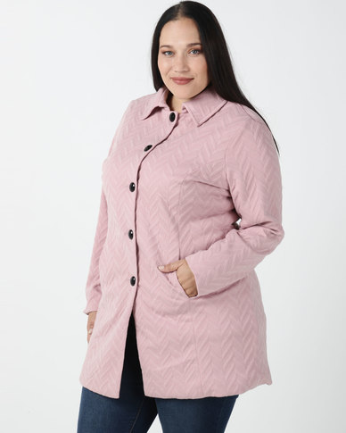 Queenspark Plus Collection Piped Puffer Zigzag Button Knit Coat Soft Pink