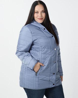 Queenspark Plus Collection Longer Length Puffer Woven Coat Blue