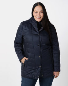Queenspark Plus Collection Longer Length Puffer Woven Coat Navy