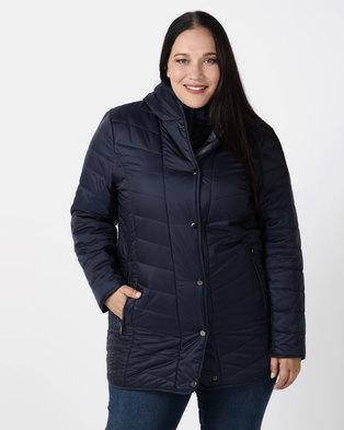 Queenspark Plus Collection Longer Length Puffer Woven Coat Navy