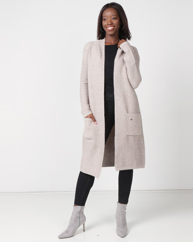 Miss Cassidy By Queenspark Hooded Longer Length Knitwear Cardigan Stone