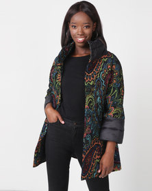 Miss Cassidy By Queenspark Milano Tapestry Woven Coat Multi