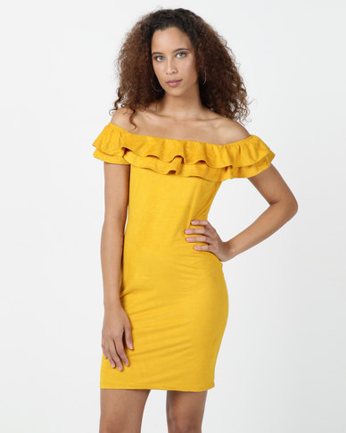 Legit Suede Midi Tube Dress With Double Frill Neckline Mustard
