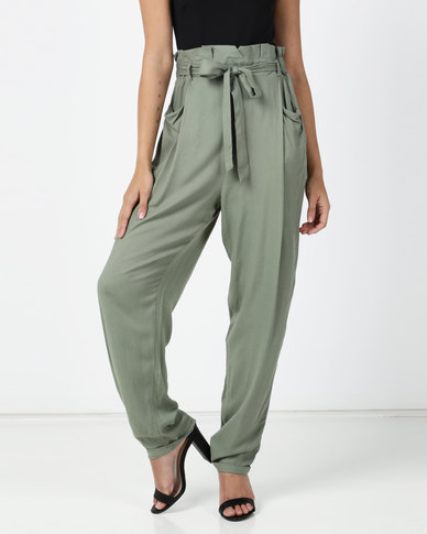 Legit Paperbag Tapered Roll Hem Pants Seafoam