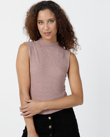 Legit Sleeveless Turtleneck Crop Top Rose