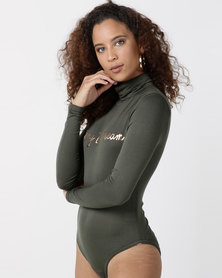 "Legit Long Sleeve Poloneck Bodysuit ""LIVING THE DREAM"" Fatigue"