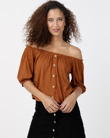 Legit 3/4 Sleeve Bardot Button Front Top Rust