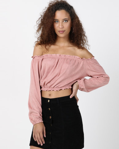 Legit Long Sleeve Bardot Suede Top Blush