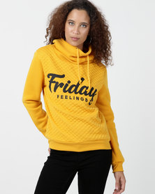 """Legit Funnel Neck Quilted 'Friday Feelings"""" Pullover Yellow"""