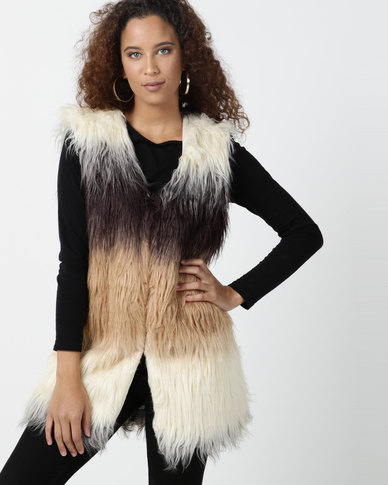 Legit Sleeveless Gradient Fur Gilet Natural