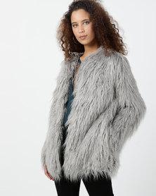 Legit Long Sleeve Shaggy Fur Jacket Grey