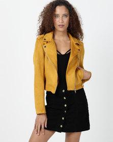 Legit Suede Biker Jacket Mustard