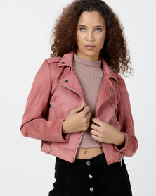 Legit Suede Biker Jacket Dark Blush