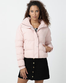 Legit High Neck Padded Bomber Jacket Light Pink