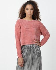Legit Chenille Boxy Cropped Pullover Coral