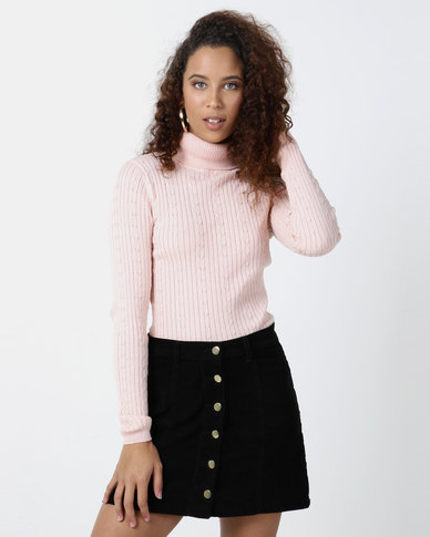Legit Poloneck Fitted Sweater Light Pink
