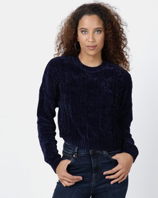 Legit Chenille Boxy Pullover With Cable Design Navy