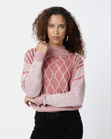 Legit Boxy Cable Knit Roll Neck Pullover Dark Blush