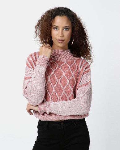 Legit Boxy Cable Knit Roll Neck Pullover Dark Blush