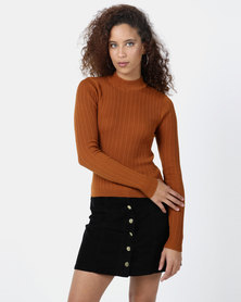 Legit Turtleneck Fitted Sweater Rust