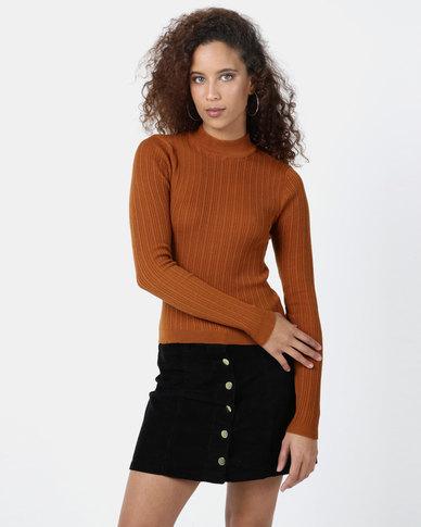 Legit Turtleneck Fitted Sweater Rust