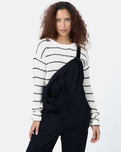 Legit Cropped Striped Pullover White/Black
