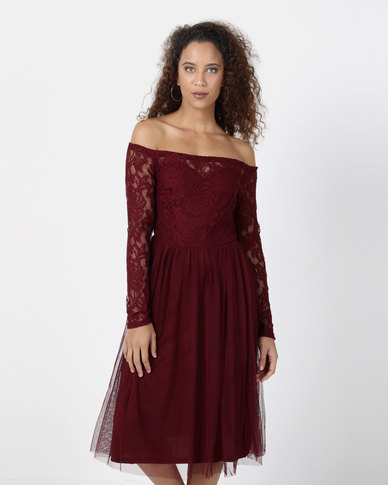 Legit Off The Shoulder Long Sleeve Lace Bodice Prom Dress Red
