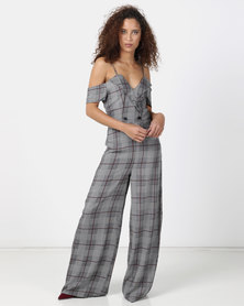 Legit Off The Shoulder Check Wideleg Tuxedo Jumpsuit Multi