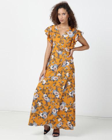 Legit Flounce Sleeve Wrap Detail Maxi Dress Mustard