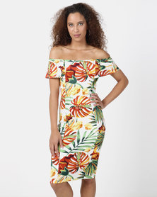 Legit Off The Shoulder Printed Bodycon Dress Multi