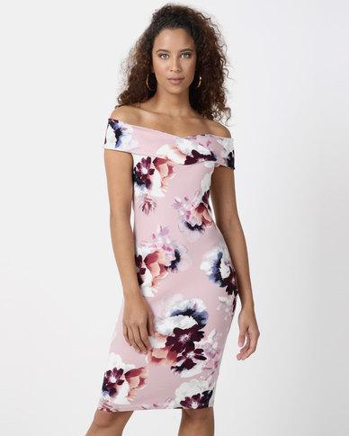 Legit Floral Off The Shoulder Bodycon Dress Blush