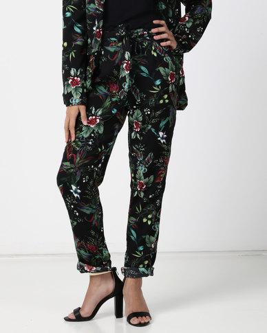 Legit Slim Leg Tie Front Printed Pants Multi