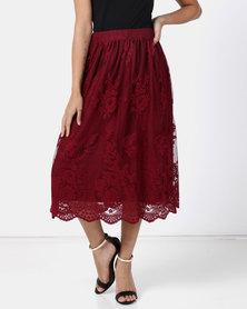Legit Lace Mesh Midi Skirt Burgundy