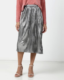 Legit Pleated Foil Midi Skirt Silver