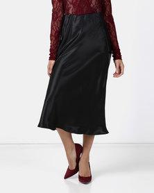 Legit Satin Bias Midi Skirt Black