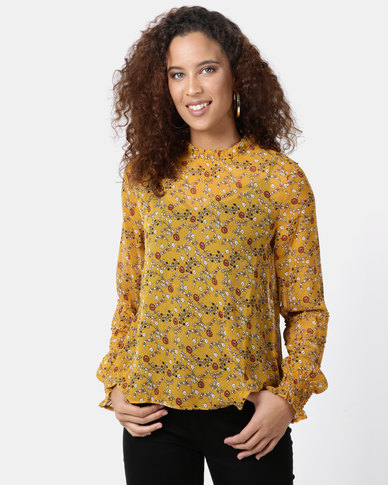Legit Long Sleeve Frill Neck With Frill Sleeve Detail Top Yellow